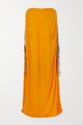 Oscar de la Renta Embellished Georgette Gown - Saffron