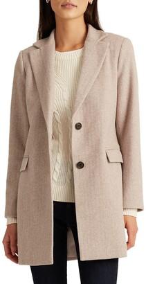 Lauren Ralph Lauren Herringbone Blazer Wool Blend Coat