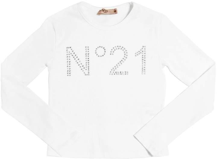 N°21 Star Studded Logo Cotton Jersey T-Shirt