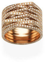 Repossi Antifer Eight-Row Ring with Diamonds in 18K Black Gold