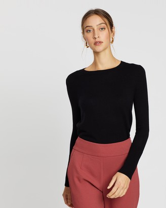 SABA Women's Black Jumpers - Laura Crew Neck Long Sleeve Knit - Size One Size, XS at The Iconic