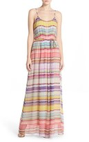 Charlie Jade Women's Belted Stripe Silk Maxi Dress