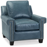 Oakes Club Chair - Adriatic Leather - Massoud - frame, espresso; upholstery, Adriatic; hardware, antiqued silver