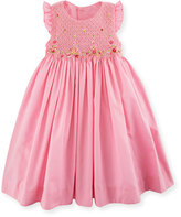 Luli & Me Sleeveless Embroidered Smocked Poplin Sundress, Pink, Size 2-4T
