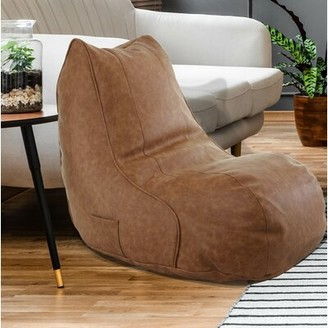 Ebern Designs Small Faux Leather Bean Bag Chair & Lounger Upholstery Color: Cognac