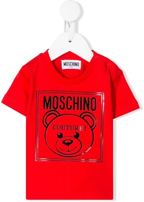 MOSCHINO BAMBINO logo-print crew neck T-shirt