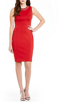 Calvin Klein Heat Stone Detail Scuba Sheath Dress