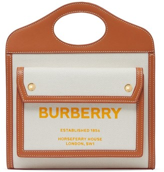 Burberry mini Pocket two-tone canvas and leather bag