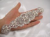 ShinyBeauty Rhinestone applique,Crystal Pearl Sash,Bridal Ivory Applique
