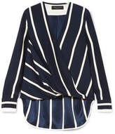 Rag & Bone Victor Wrap-effect Striped Silk Crepe De Chine Blouse - Midnight blue