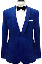 John Lewis Shawl Lapel Velvet Tailored Dinner Jacket, Sapphire