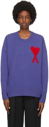 Ami Alexandre Mattiussi Purple Ami De Coeur Heart Sweater