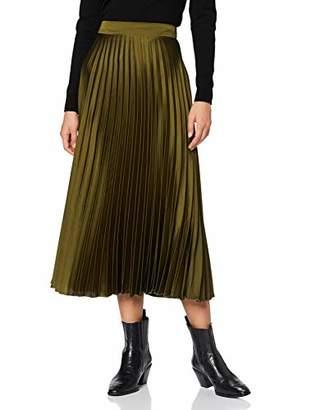 New Look Women's Satin Pleated MIDI Skirt S6,6 (Size:6)