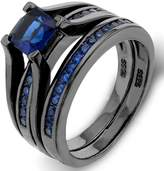 Ever Faith Black Sterling Silver 925 Princess-Cut Sapphire Color Solitaire Cocktail Ring Set Size 7 N07259-1