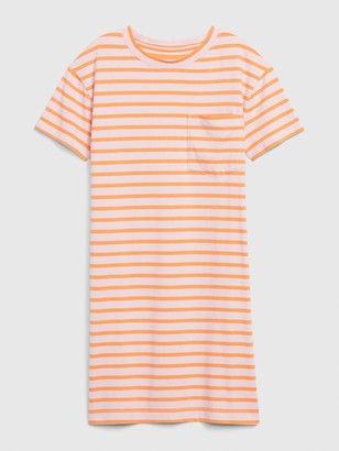 Gap Striped Short Sleeve Pocket T-Shirt Dress
