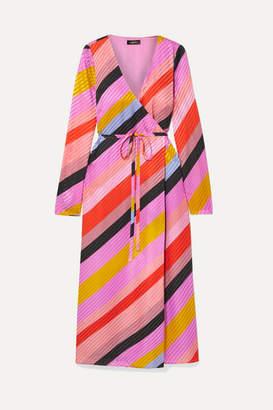 Stine Goya Striped Silk-jacquard Wrap Dress - Pink