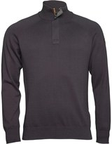 Duck and Cover Mens 1/2 Placket Funnel Neck Knit Top Coal