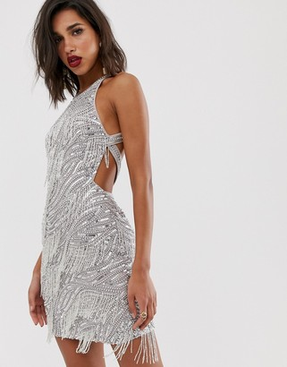 Asos Edition EDITION sequin fringe cutout mini dress-Silver