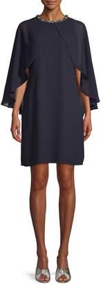 Vince Camuto Embellished Neck Capelet Dress
