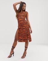 Asos Design DESIGN high split skater midi dress in tiger print