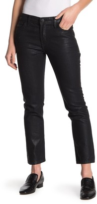 Current/Elliott The Cropped Black Coated Straight Leg Jeans