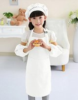 BFY Children Kids Artist Painting Cooking Baking Apron Set with Oversleeve Cap (L, White)