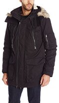French Connection Men's Rollins Parka Coat with Faux-Fur Trim Hood