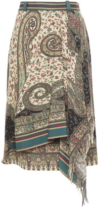 Etro Wrap-effect Printed Wool And Silk-blend Twill Skirt