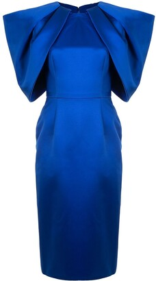 Fitted Pleated-Sleeves Dress