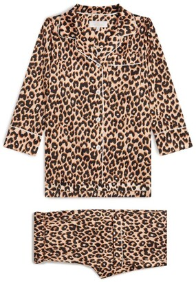 Little Yolke Leopard Print Satin Pyjama Set