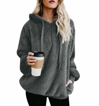 Isshe Womens Fluffy Thick Fleece Hoodie Sweatshirt Pullover Ladies Quarter Zip Fuzzy Double Fleece Jumper With Pockets Outwear Long Sleeve Zipper Oversized Hooded Sweatshirts Tops Warm Winter Soft Gray M