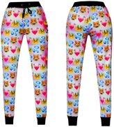Alaroo 3D Emoji Cat Printed Teen Jogger Pants Sweatpants with Drawstring L