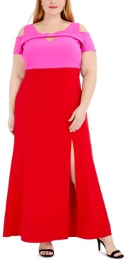 Night Way Nightway Plus Size Colorblocked Cold-Shoulder Gown