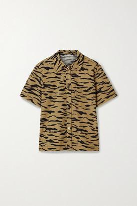 REJINA PYO Nico Tiger-print Cotton-poplin Shirt - Beige