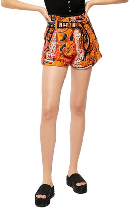 Free People Dusty Trails Belted Stitched Print Shorts