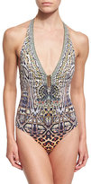 Camilla Halter-Neck Printed One-Piece Swimsuit