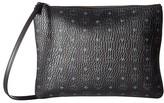 MCM Visetos Original Pouch Medium Crossbody with Shoulder Strap (Black) Cross Body Handbags