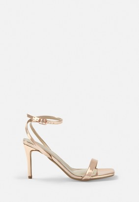 Missguided Rose Gold Metallic Barely There Low Heels