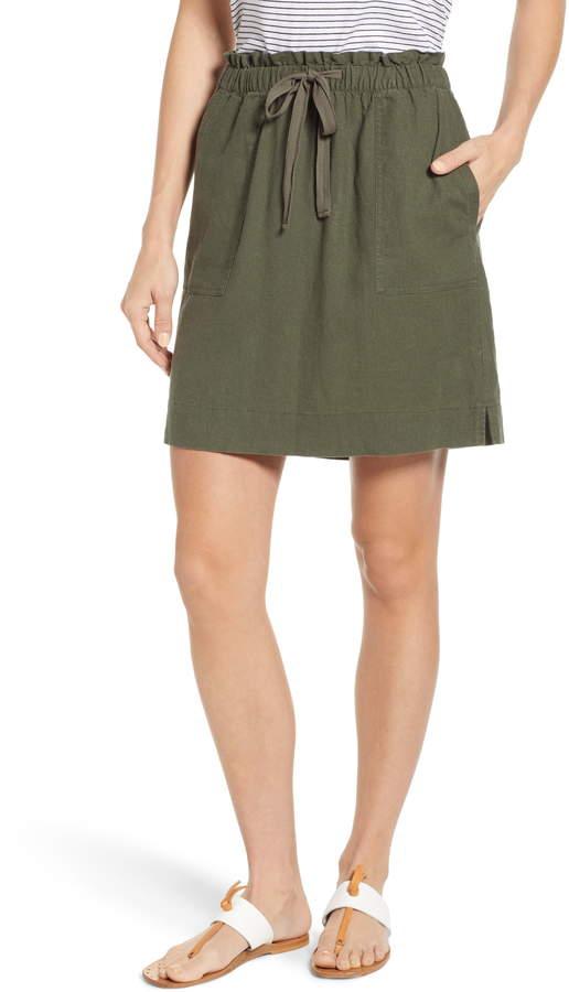 Caslon Paperbag Waist Linen Blend Skirt