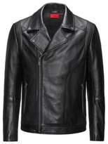 HUGO BOSS Leather Moto Jacket Laston S Black