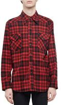 Saint Laurent Check Western-Style Flannel Shirt, Red