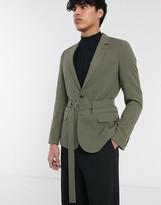 Asos Design DESIGN skinny belted blazer in khaki