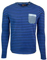 Scotch & Soda Long Sleeve Striped Shirt with Pocket - Blue/black (XL)