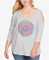 Jessica Simpson Trendy Plus Size Asli Cold-Shoulder Top