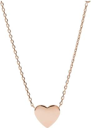 Fossil Engraveable Rose Gold Heart Pendant and Crystal Set Ladies Necklace
