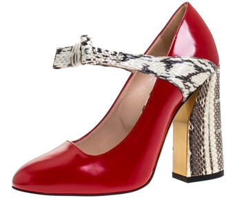 Gucci Red Leather And Snakeskin Nimue Mary Jane Pumps Size 36.5