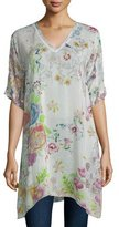 Johnny Was Short-Sleeve Floral-Print Tunic, Plus Size