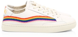 Soludos Rainbow Wave Embroidered Leather Sneakers