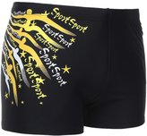 Niyatree Men's Solid Spliced Boxer Swimming Brief Elastic Trunks - M