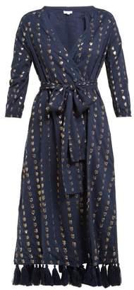 Rhode Resort Lena Heart-jacquard Cotton-blend Wrap Dress - Womens - Navy